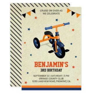 Cartão O partido de aniversário de criança alaranjado