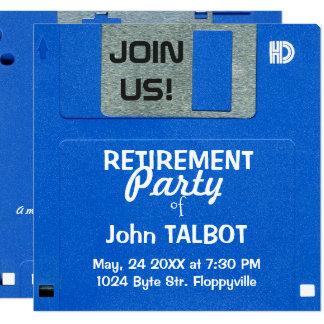 Cartão O partido de aposentadoria de disco flexível retro