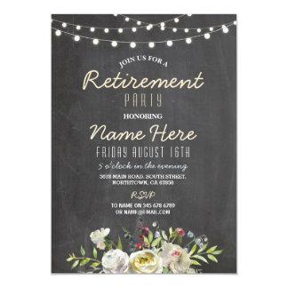 Cartão O partido de aposentadoria floral do rosa branco