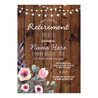 Cartão O partido de aposentadoria floral ilumina o rosa