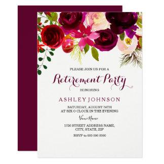 Cartão O partido de aposentadoria floral vermelho de