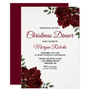 Cartão O partido de comensal do Natal da rosa vermelha de