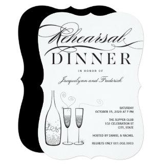 Cartão O partido de prata do jantar de ensaio de