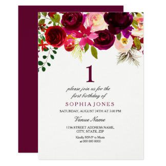 Cartão O partido de primeiro aniversario floral de