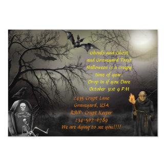 Cartão O partido do Dia das Bruxas do zombi do cemitério