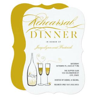 Cartão O partido do jantar de ensaio de Champagne do ouro