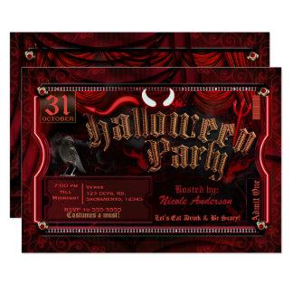Cartão O partido do traje do Dia das Bruxas do diabo