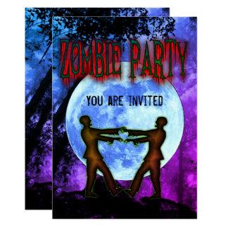 Cartão O partido do traje do zombi do Dia das Bruxas