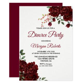 Cartão O partido floral do divórcio da rosa vermelha de