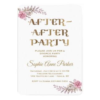 Cartão O partido floral marrom chique do divórcio de