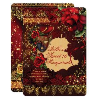 Cartão O partido romântico do doce 16 do mascarada