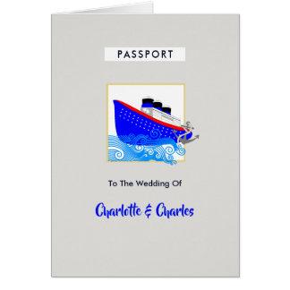 Cartão O passaporte do casamento do destino do cruzeiro