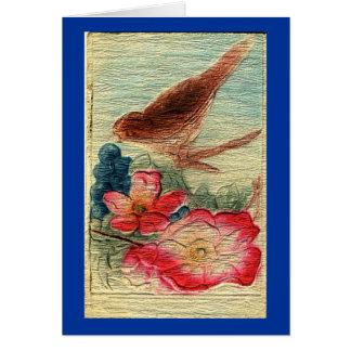 Cartão O pássaro do vintage & floresce todo o cumprimento