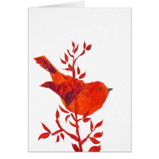 Cartão O pássaro vermelho o mais bonito no planeta