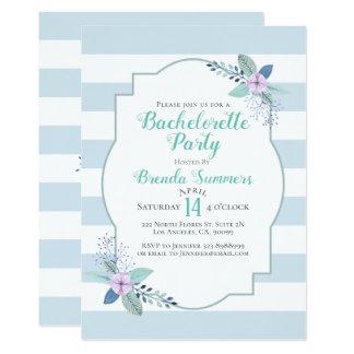Cartão O Pastel do buquê floral listra Bachelorette