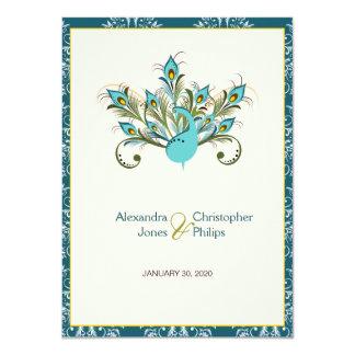 Cartão O pavão empluma-se o casamento tema damasco