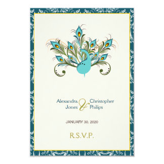 Cartão O pavão empluma-se o casamento tema damasco RSVP