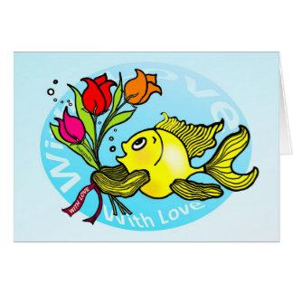 Cartão O peixe dos namorados com amor floresce desenhos
