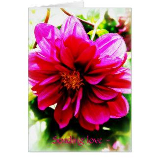 Cartão O pensamento de você carda a flor cor-de-rosa no