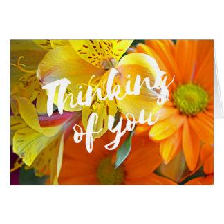 Cartão O pensamento de você carda - amarelo e laranja