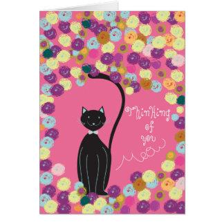 Cartão O pensamento de você carda o gato preto com fios