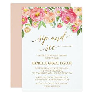 Cartão O pêssego e o sorvo cor-de-rosa das flores da