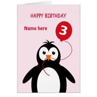 Cartão O pinguim bonito do aniversário de 3 anos adiciona