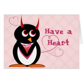 Cartão O pinguim mau tem um coração
