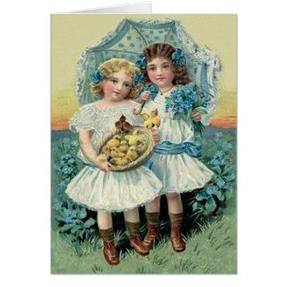 Cartão O pintinho da páscoa das meninas do Victorian