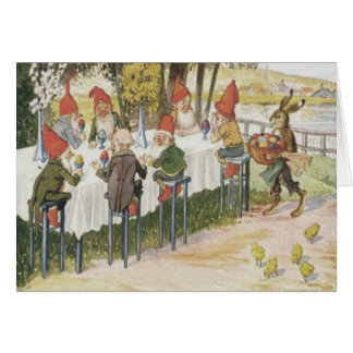 Cartão O pintinho do coelhinho da Páscoa do gnomo do