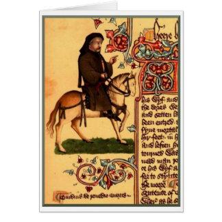 Cartão O poeta Chaucer, manuscrito de Ellesmere, cerca de