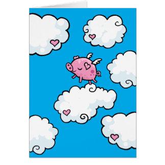 Cartão O porco do vôo dança em nuvens