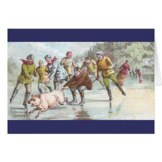 Cartão O porco puxa o patinador de gelo através da lagoa