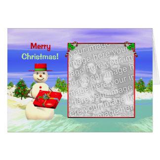 Cartão O presente do boneco de neve (quadro da foto)