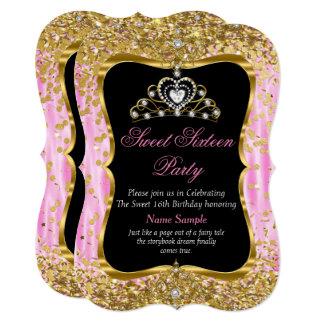 Cartão O preto cor-de-rosa do ouro da princesa Doce 16 da