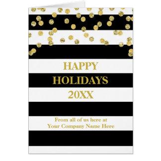 Cartão O preto listra o Natal incorporado dos confetes do