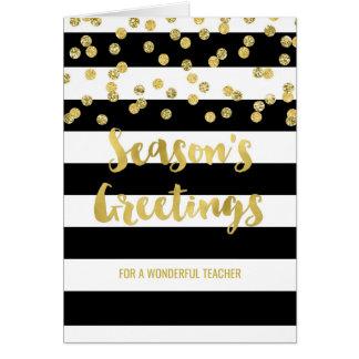 Cartão O preto listra o professor do Natal dos confetes