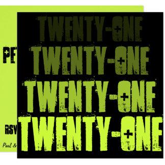 Cartão O preto vinte e um do verde @ convida