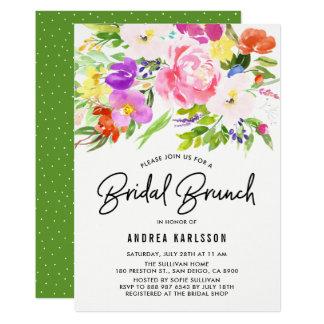 Cartão O primavera colorido da aguarela floresce refeição