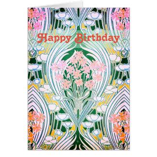 Cartão O primavera floresce o feliz aniversario colorido
