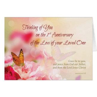 Cartão O primeiro aniversário da perda de amou sua morte