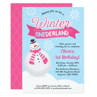 Cartão O primeiro aniversario de ONEderland do inverno da