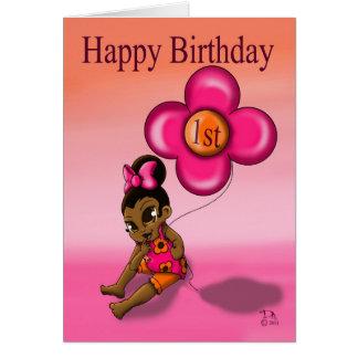 Cartão O primeiro aniversario do bebé