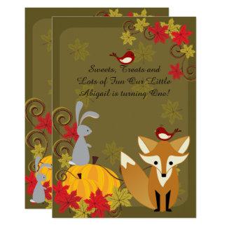 Cartão O primeiro aniversario do outono dos animais da