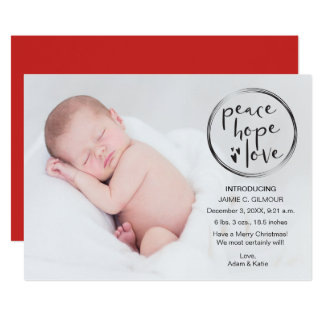 Cartão O primeiro Natal do bebê, anúncio, personalizado