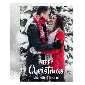 Cartão O primeiro Natal do costume casou-se contratou a