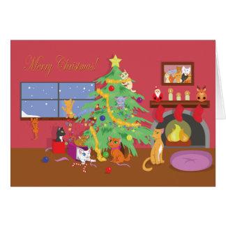 Cartão O primeiro Natal dos gatinhos