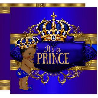 Cartão O príncipe chá de fraldas do ouro dos azuis