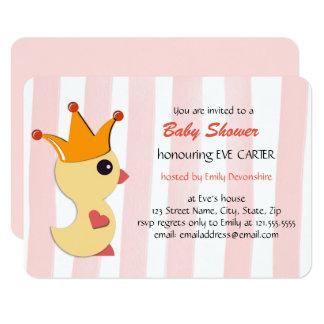 Cartão O príncipe chá de fraldas do patinho - rosa