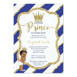 Cartão O príncipe pequeno chá de fraldas convida, brilho